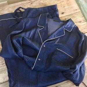 Shimera Nordstrom silk blend navy pajama set Sz XL